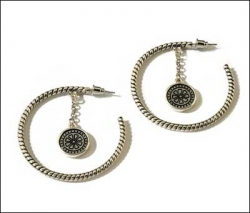 Black/Silver Hoop Earrings