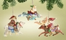 Ornaments-Santa Flying/Riding Set of 3