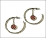 Red/Silver Hoop Earrings